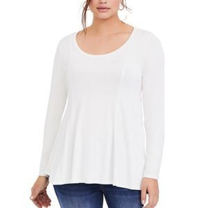 Torrid Super Soft Fit/Flare Long Sleeve Wht NWT-00